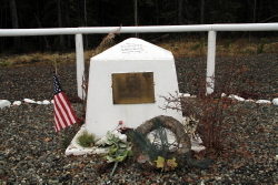 Alaska Highway memorial for Corporal Max Richardson of Company F, 340th Engineers, U.S. Army