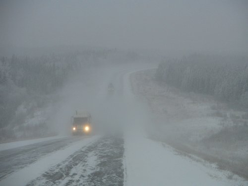 Poor winter visibility on the Alaska Highway north of Fort St. John, BC