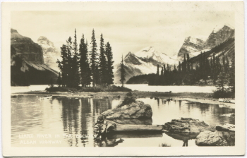 Postcard showing Maligne Lake, Alberta