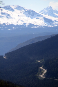A distant view from near the top of the Bella Coola hill