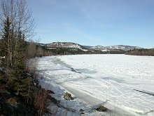 Frozen Yukon River at Carmacks - North Klondike Highway, Yukon