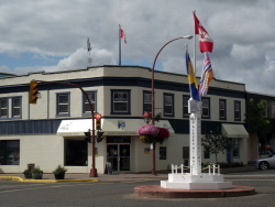 The Start of the Alaska Highway monument in downtown Dawson Creek, British Columbia