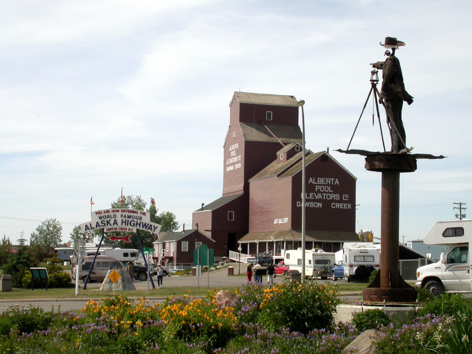 The traffic circle in Dawson Creek, British Columbia that is generally recognized as the start of the Alaska Highway.