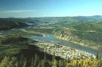 The view from the Midnight Dome at Dawson City, Yukon - home of the Klondike Gold Rush