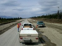 Highway construction west of Haines Junction, Yukon, in July 2002
