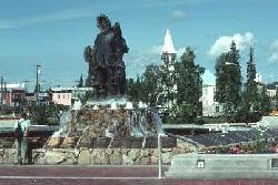 'Alaska's First Family' - a statue along the Chena River in downtown Fairbanks, Alaska