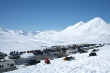 Snowmobilers along the Haines Highway