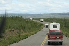 RV traffic on the North Klondike Highway, Yukon