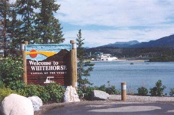 Welcome to Whitehorse, Yukon - a photo of the welcome sign beside the Yukon River