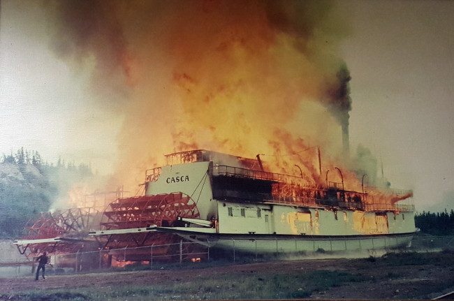 Sternwheeler Casca burning at Whitehorse on June 21, 1974