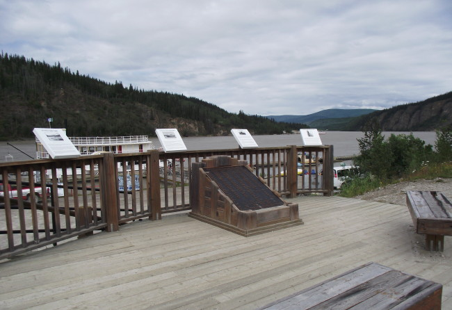 The SS Princess Sophia memorial on the Yukon River at Dawson, Yukon