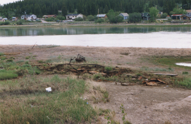 The ruins of the sternwheeler 'F.H. Kilbourne' at Carcross, Yukon, August 1997