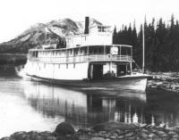 The Yukon River sternwheeler Gleaner in about 1906, probably on Tagish Lake