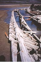 The wreckage of the Yukon River sternwheeler Gleaner at Nares Lake in May 2001