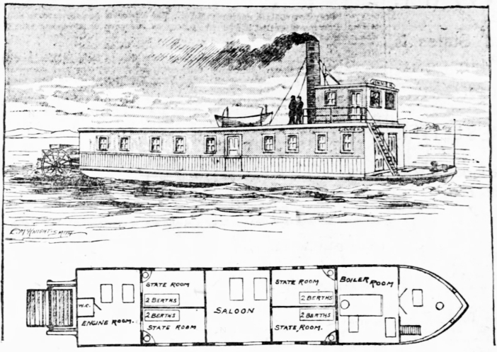 A drawing of the Yukon River sternwheeler Jennie M.