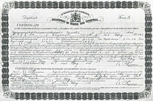 1928 Inspection Certificate for the Nasutlin