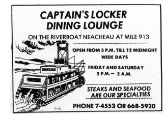 Yukon riverboat Neeccheah as the Captain's Locker resrtaurant in Whitehorse, 1974