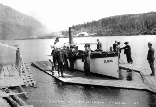 Historic police launch Gladys at Carcross, Yukon, in 1906