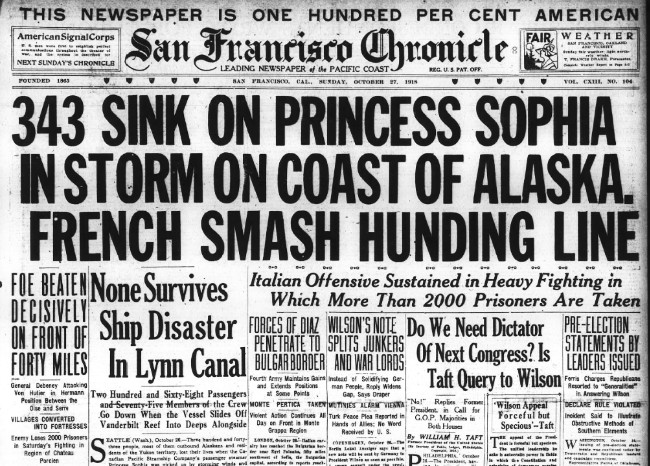 The wreck of the SS Princess Sophia -newspaper headline