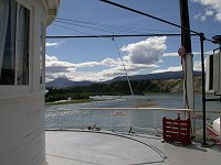 Looking up the Yukon River from outside the wheelhouse of the Klondike