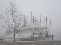 The historic sternwheeler Klondike in an October fog