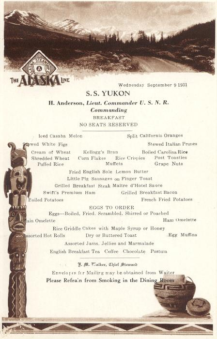 A menu from a 1931 Alaska voyage of the S.S. Yukon