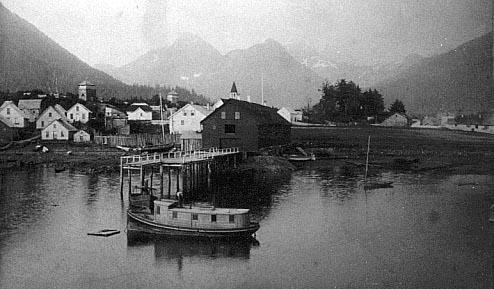 The historic Alaska mail steamer 'Elsie' in Sitka in 1891