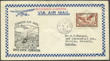 First official air mail flight, Whitehorse to Edmonton