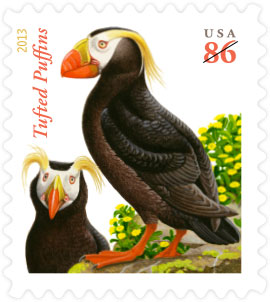 2013 USPS Tufted puffins stamp