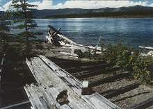 The hull wreckage of the sternwheeler 'Casca', Lower Laberge, Yukon River