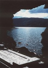 Lake Laberge, Yukon, from inside a limestone cave