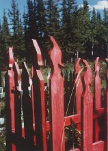 A fanciful grave surround at Fort Selkirk, along the Yukon River