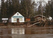 The historic buildings at Stewart Island, Yukon are being claimed by river erosion