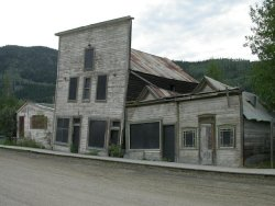 Permafrost damaged buildings in Dawson City