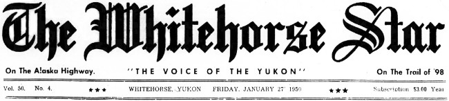 The Whitehorse Star, January 27, 1950