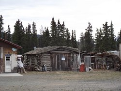 Log garage at Champagne, Yukon