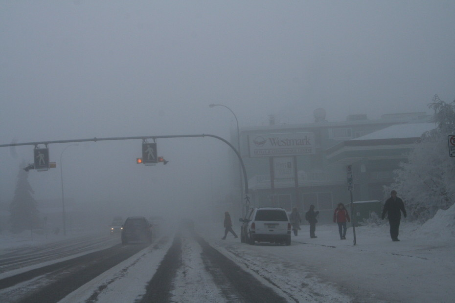 A winter ice fog in Whitehorse, Yukon