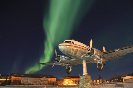 DC-3 CF-CPY with the aurora borealis at Whitehorse, Yukon