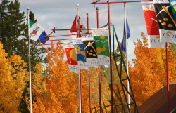 Flags and Fall colours at Whitehorse, Yukon