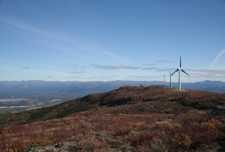 Wind turbines at Haekel Hill in Whitehorse, Yukon