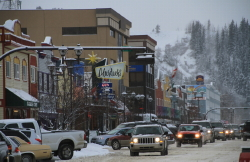 Main Street in Whitehorse, Yukon, in mid-November