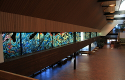 Stained glass mural in the Yukon Government Administration Building in Whitehorse